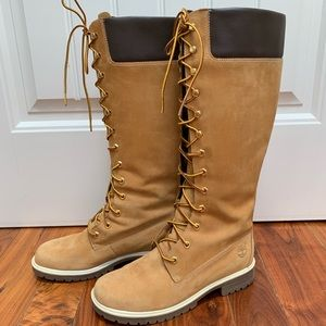 Timberland knee high lace up boots